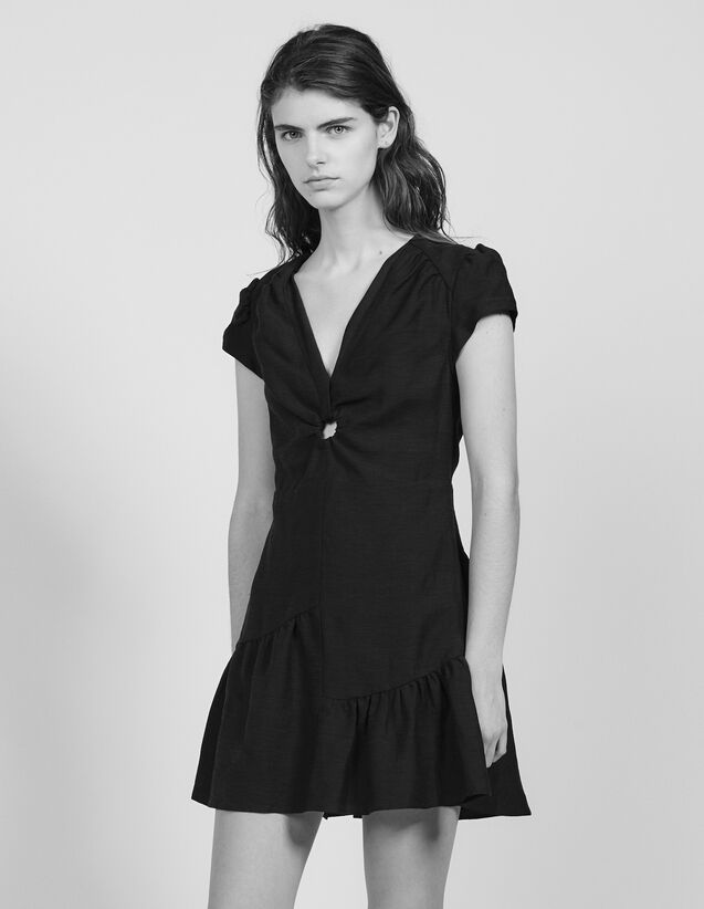 Short Dress With Low Neckline : Dresses color Black