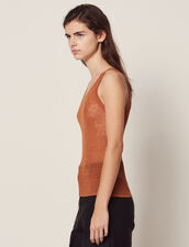 Fine Ribbed Knit Top : null color Terracotta