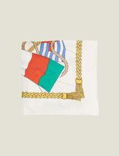 Printed Silk Scarf : null color Multi-Color