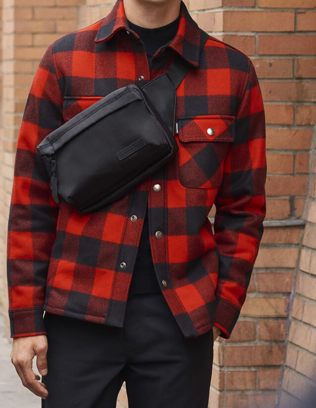 Checked jacket lined with faux sheepskin : All Selection color Black/Red