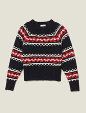 Sweater with geometric jacquard pattern : Sweaters & Cardigans color Rouge/Noir/Ecru