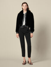 Faux Fur Bomber Jacket : Blazers & Jackets color Black