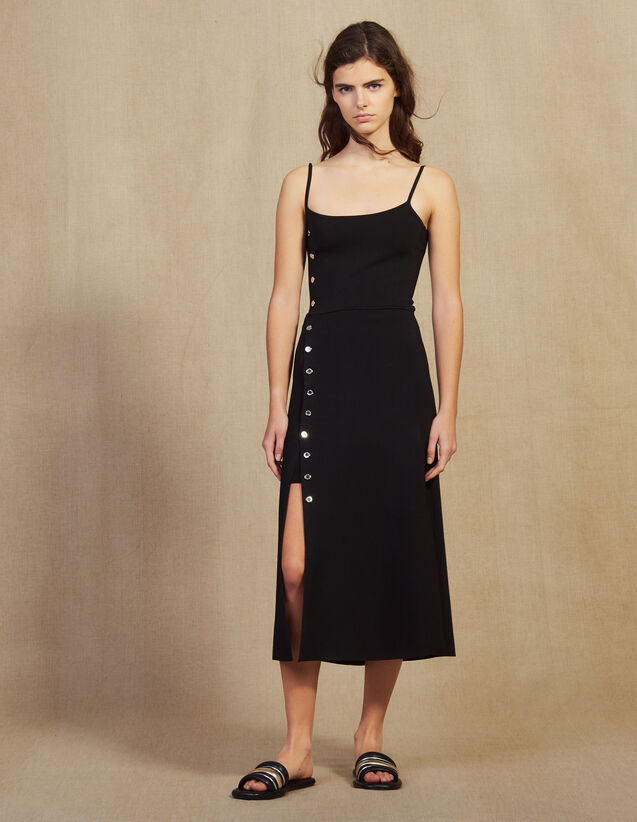 Knitted Midi Dress With Narrow Straps : Dresses color Black