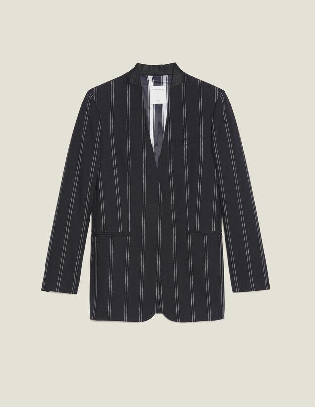 Matching Striped Blazer : Blazers & Jackets color Black