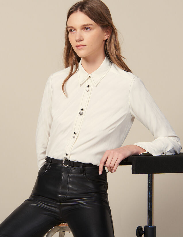Shirt Adorned With Jewelled Buttons : New In color Ecru