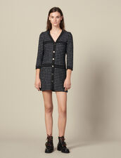 Short tweed coat dress : LastChance-ES-F40 color Navy Blue