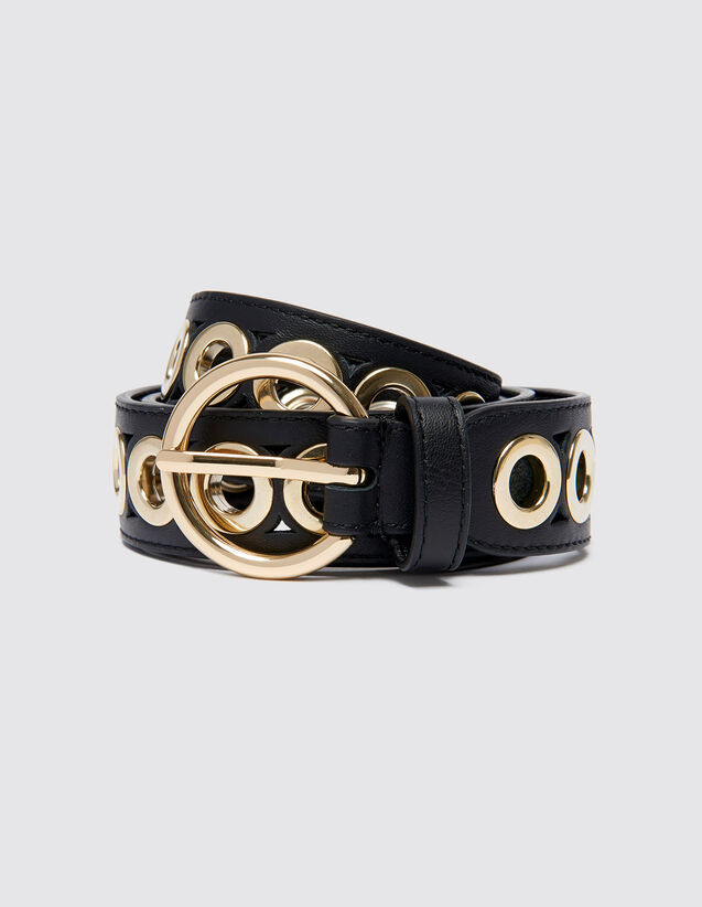 Belt With Round Buckle And Eyelets : Belts color Black