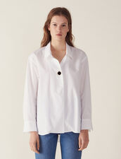 Shirt Embellished With A Jewelled Button : Tops & Shirts color white