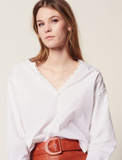 Long-Sleeved Cotton Top : null color white