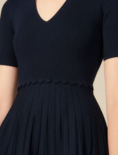 Knit dress with shirt collar : LastChance-ES-F50 color Navy Blue