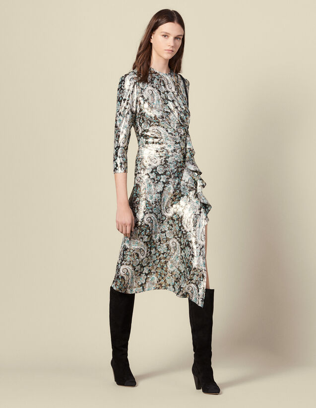 Long draped dress in lurex jacquard : Dresses color Multi-Color