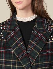 Long Coat With Rhinestone Shoulders : LastChance-ES-F50 color Bottle Green