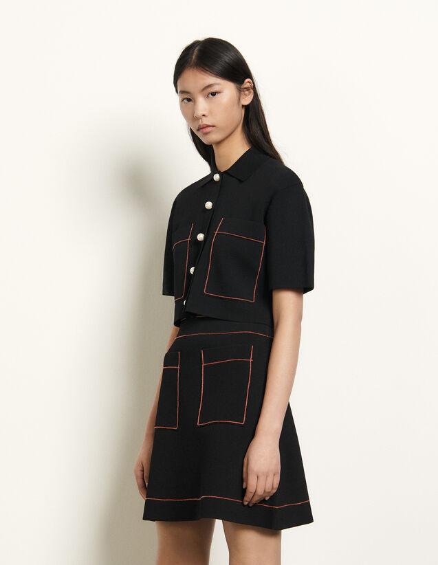 Short knitted skirt : Skirts & Shorts color Black