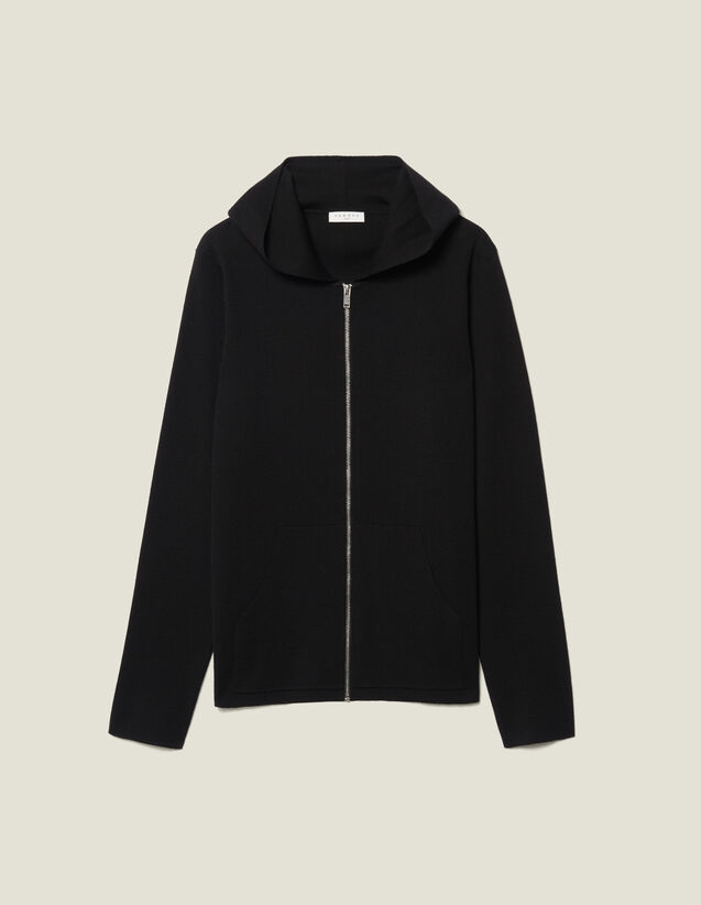 Wool Cardigan With Hood : Sweaters & Cardigans color Navy Blue