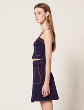 Short Knit Skirt : null color Navy Blue