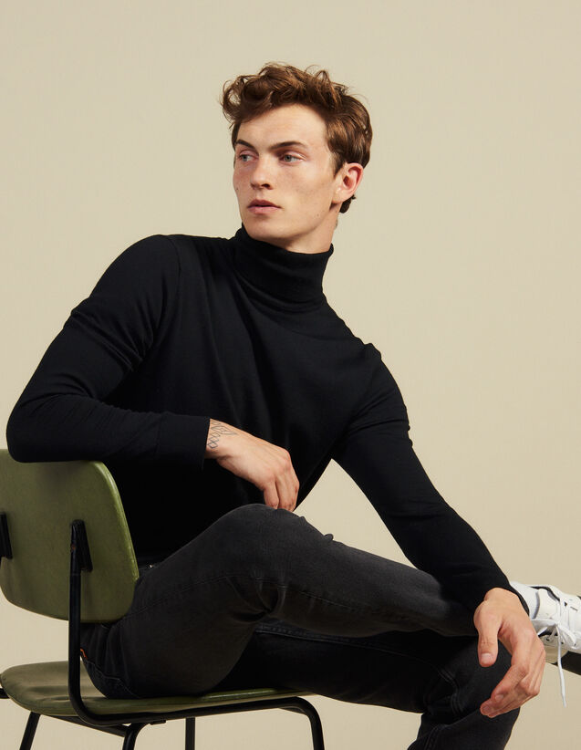 Roll neck wool sweater : Sweaters & Cardigans color Black