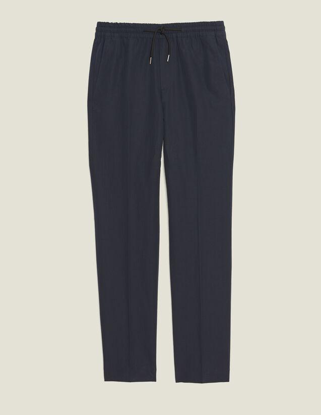Smart Cotton/Linen Trousers : Pants & Shorts color Navy Blue