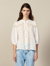 Lace-Blend Blouse : null color Ecru