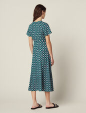 Short-Sleeved Printed Flowing Dress : null color Green