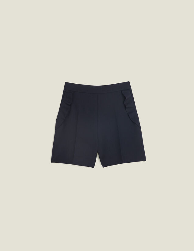 High-Waisted Shorts With Ruffles : Skirts & Shorts color Navy Blue