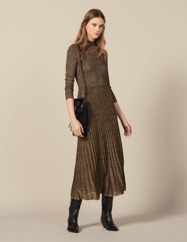 Long Lurex Knit Dress : Dresses color Gold