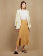Long Knit Skirt With Pleats : null color Gold