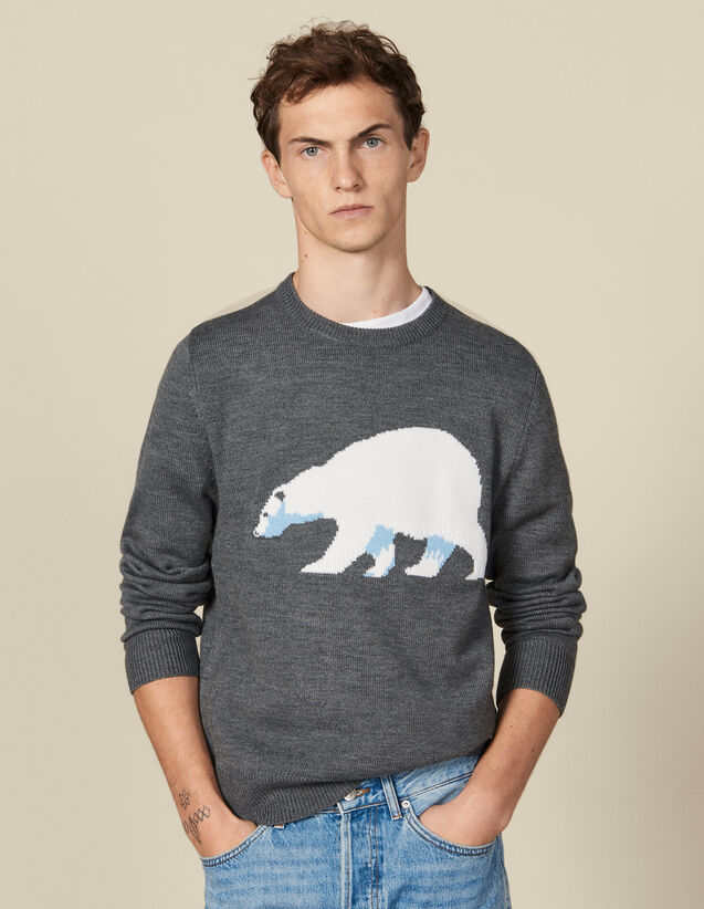 Sweater with jacquard bear : Sweaters & Cardigans color Medium grey chine