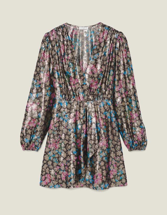 Short Lurex Jacquard Dress by Sandro Paris