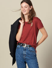 T-Shirt With Embroidered Patch : T-shirts color Bordeaux
