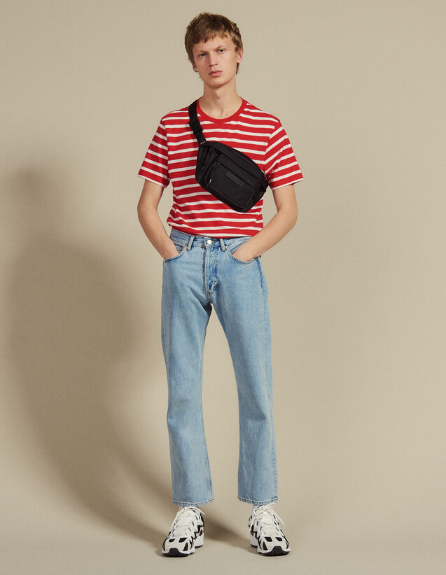 T-Shirt With Contrasting Stripes : T-shirts & Polo shirts color Red