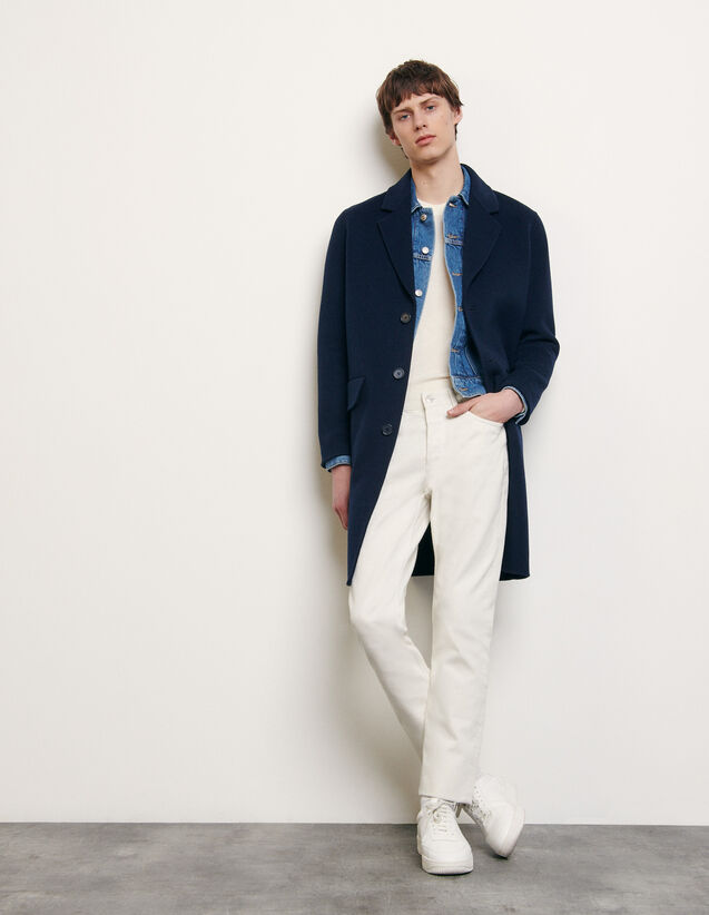 Double-sided wool coat : Summer Collection color Navy Blue