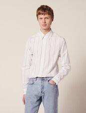 Cotton Shirt With Double Stripes : Sélection Last Chance color white