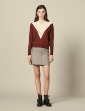 Lace-Effect V-Neck Sweater : Sweaters & Cardigans color Brown
