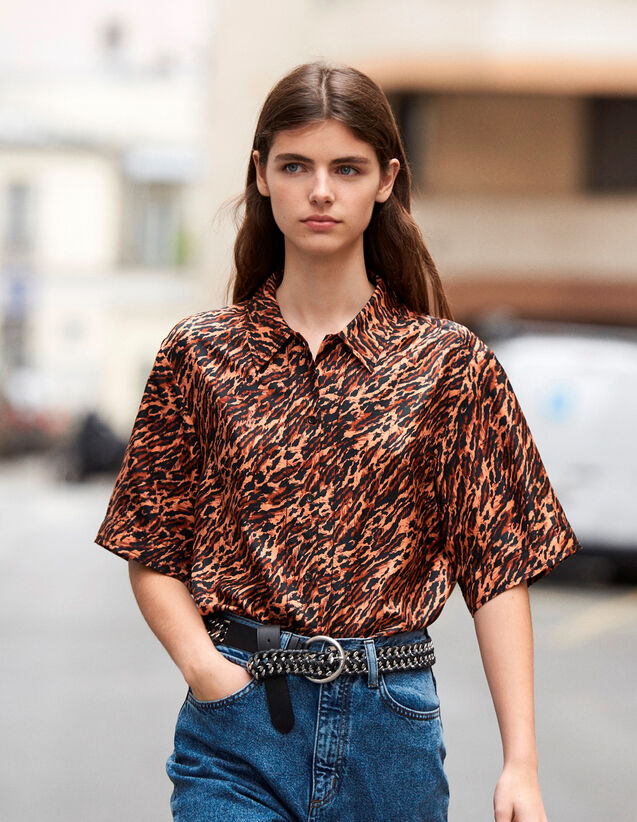 Printed Silk Twill Shirt : New In color Brown