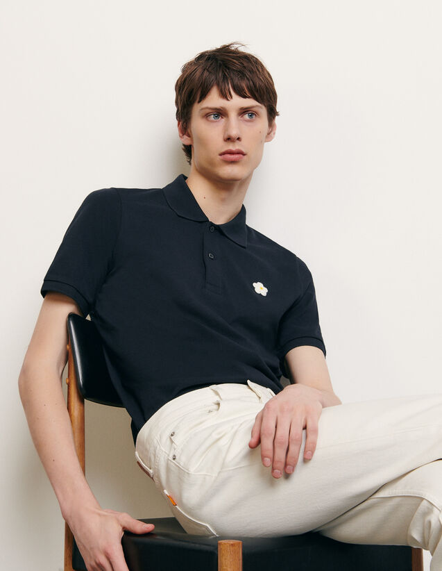 Cotton polo shirt with embroidered patch : Summer Collection color Navy Blue
