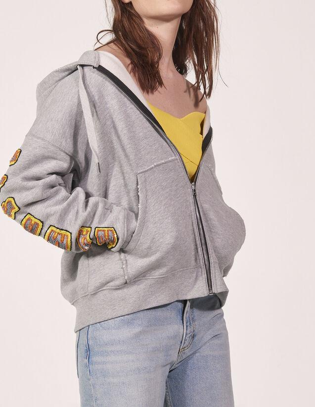 0efd1fd4a Embroidered flame sleeved sweatshirt : Outlet color Mocked Grey