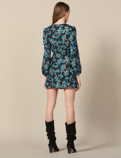 Tulle dress embroidered with sequins : Best of the season color Black/turquoise