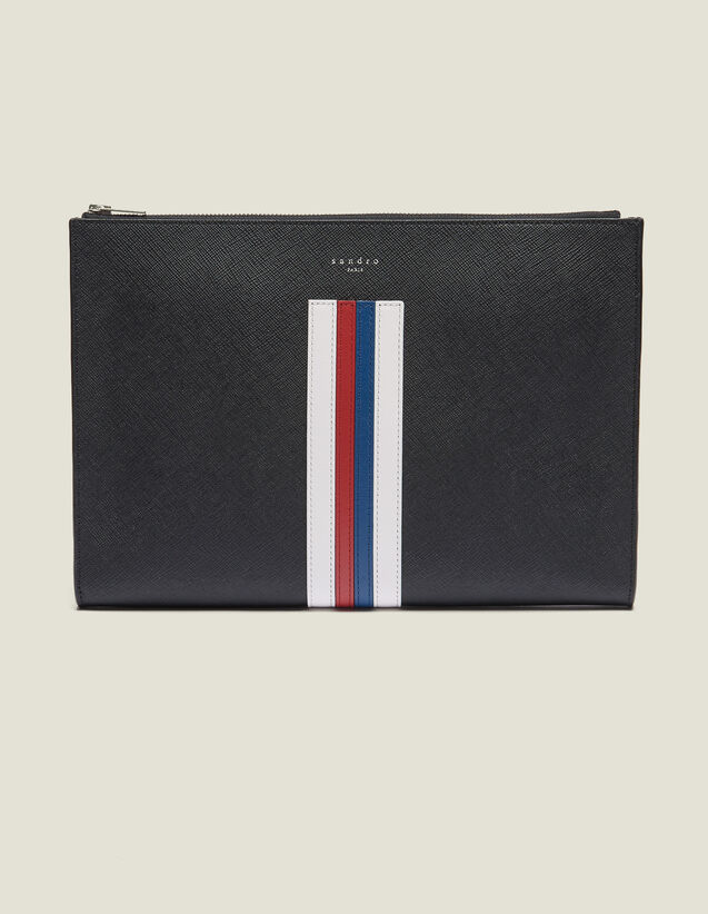 Document Case With Coloured Lines : All Leather Goods color Black