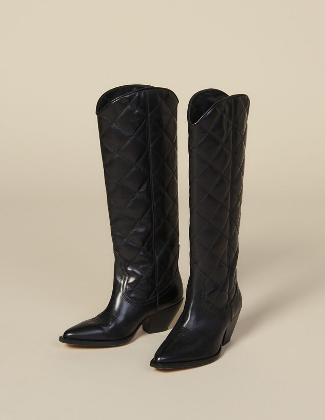 Quilted Leather Tall Cowboy Boots : All Shoes color Black