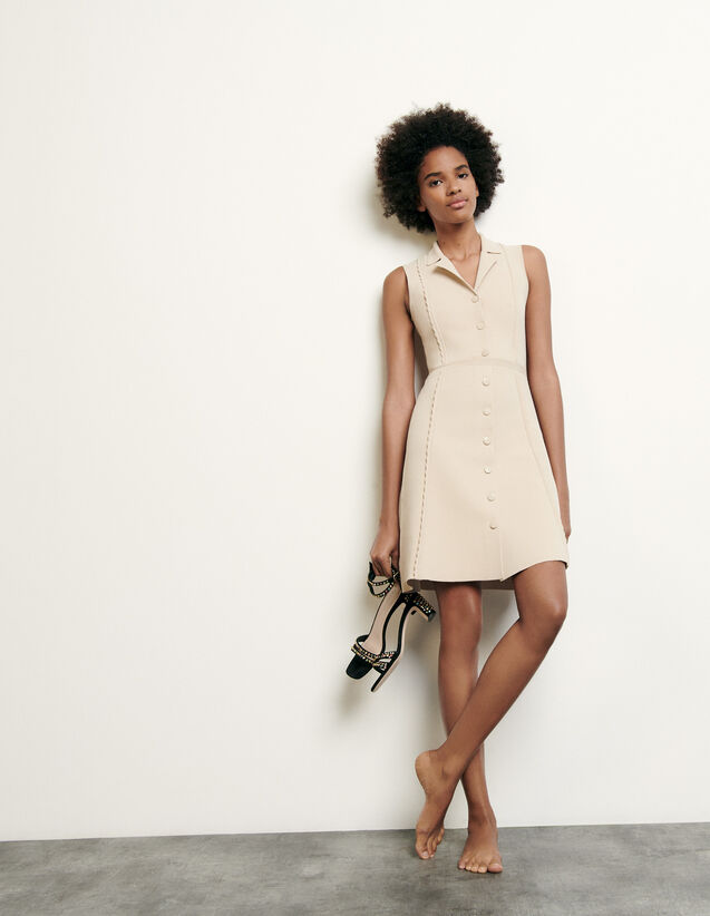 Short knitted dress with tailored collar : Summer Collection color Beige