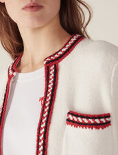 Cardigan With Three-Coloured Braid Trim : Sweaters & Cardigans color Ecru