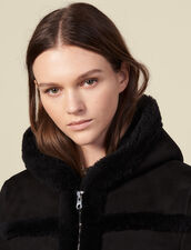 Long sheepskin coat with hood : Coats color Black