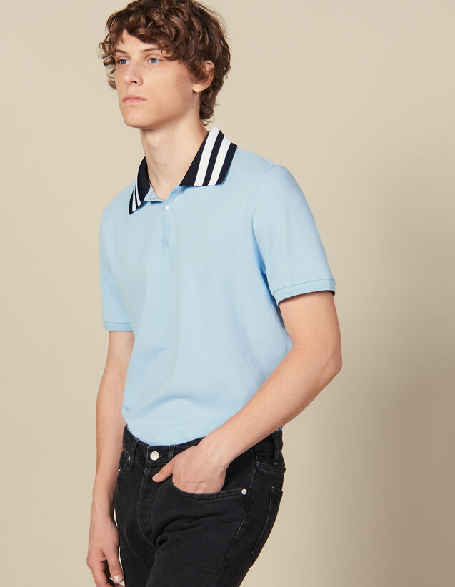 Cotton Polo Shirt With Striped Collar : Winter Collection color Sky Blue
