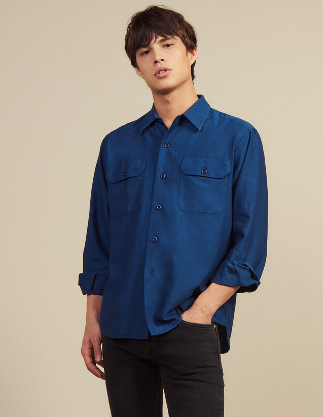 Flowing Herringbone Fabric Shirt : SOLDES-CH-HSelection-PAP&ACCESS-2DEM color Blue
