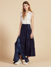 Midi Dress Decorated With Lace Trims : Dresses color Ecru