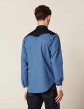 Colourblock Western-Style Shirt : Shirts color Blue