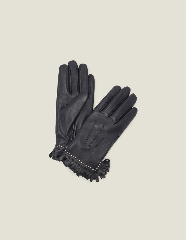 Leather Gloves With Studs And Fringing : Gloves & Hats color Black