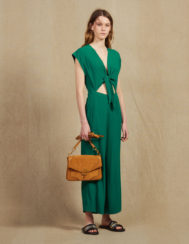 Jumpsuit With Tie Fastening On The Top : Jumpsuits color Green