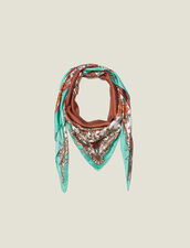 Silk baroque print scarf : All Winter collection color Light Green