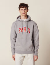 Hoodie With Patch Lettering : SOLDES-CH-HSelection-PAP&ACCESS-2DEM color Mocked Grey
